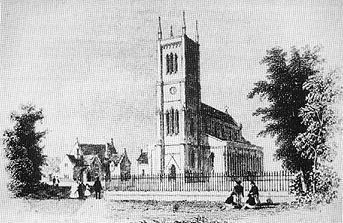 This shows a drawing of Holy Trinity Church carried out prior to the arrival of the railway line in 1848.
