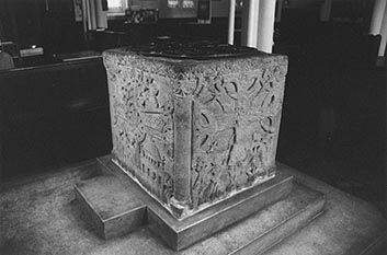 Holy Trinity's font from south west corner.  Photograph by Paul Bexon.